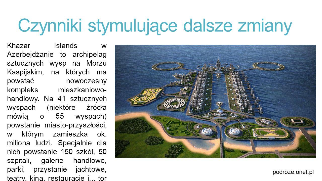 Czynniki stymulujące dalsze zmiany Khazar Islands w Azerbejdżanie to archipelag sztucznych wysp na Morzu Kaspijskim, na których ma powstać nowoczesny
