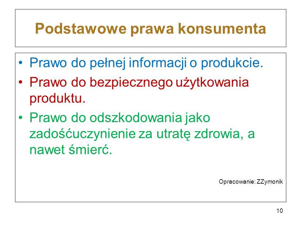 Podstawowe prawa konsumenta Prawo do pełnej informacji o produkcie. Prawo do bezpiecznego użytkowania produktu. Prawo do odszkodowania jako zadośćuczy
