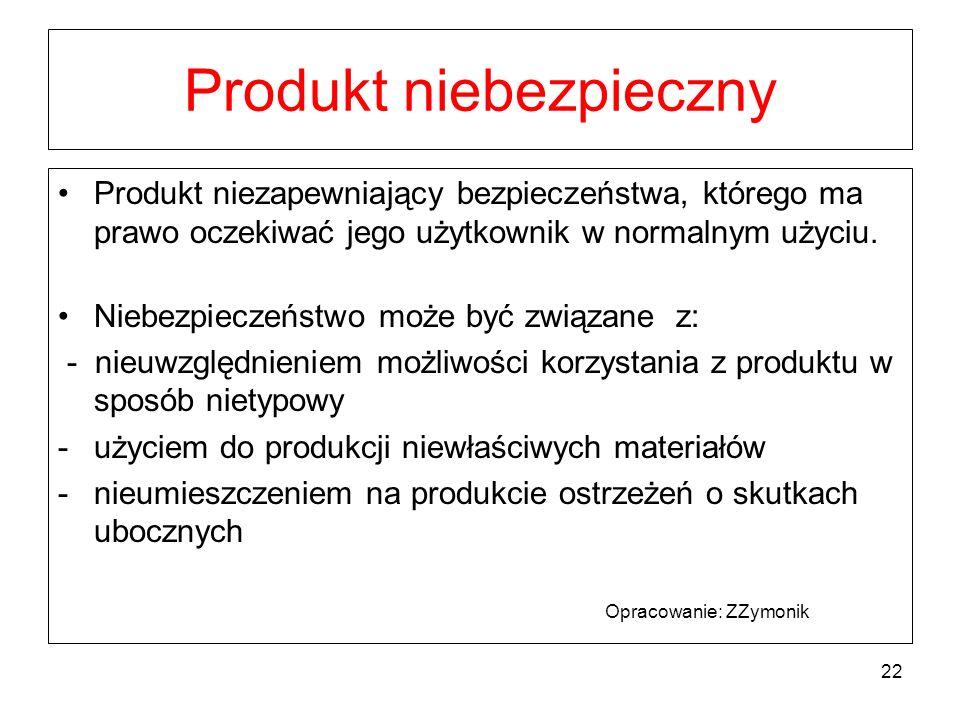 Produkt niebezpieczny Produkt niezapewniający bezpieczeństwa, którego ma prawo oczekiwać jego użytkownik w normalnym użyciu. Niebezpieczeństwo może by