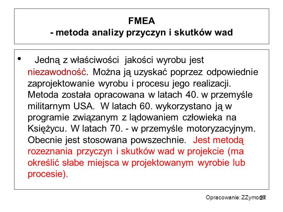 FMEA - metoda analizy przyczyn i skutków wad Jedną z właściwości jakości wyrobu jest niezawodność. Można ją uzyskać poprzez odpowiednie zaprojektowani