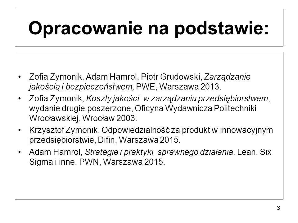 Opracowanie na podstawie: Zofia Zymonik, Adam Hamrol, Piotr Grudowski, Zarządzanie jakością i bezpieczeństwem, PWE, Warszawa 2013.
