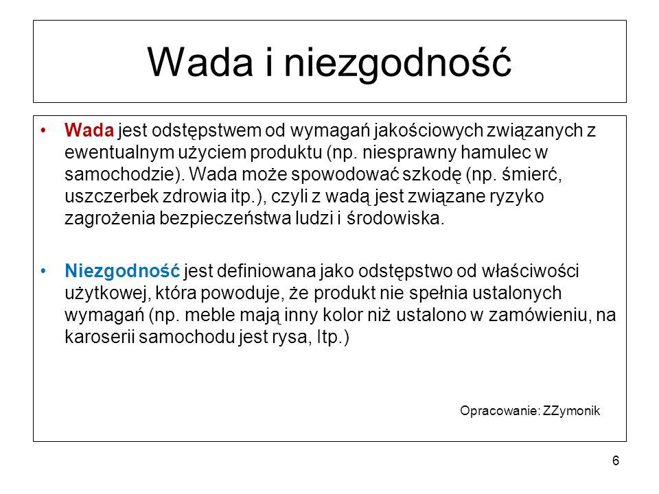 Wada i niezgodność Wada jest odstępstwem od wymagań jakościowych związanych z ewentualnym użyciem produktu (np.