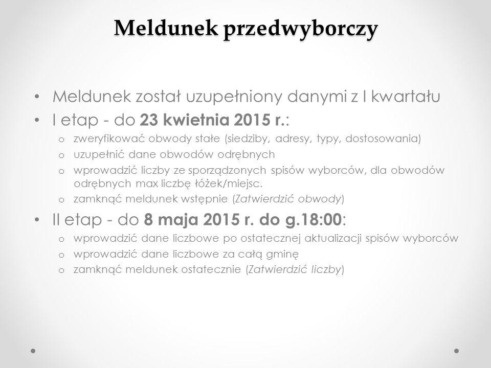 Meldunek przedwyborczy Meldunek został uzupełniony danymi z I kwartału I etap - do 23 kwietnia 2015 r.