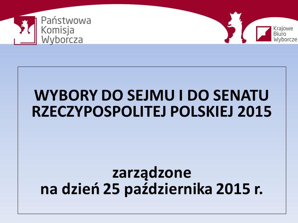 WYBORY DO SEJMU I DO SENATU RZECZYPOSPOLITEJ POLSKIEJ 2015 zarządzone na dzień 25 października 2015 r.