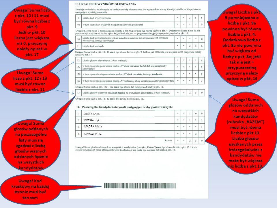 Uwaga. Suma liczb z pkt. 10 i 11 musi być równa liczbie z pkt.