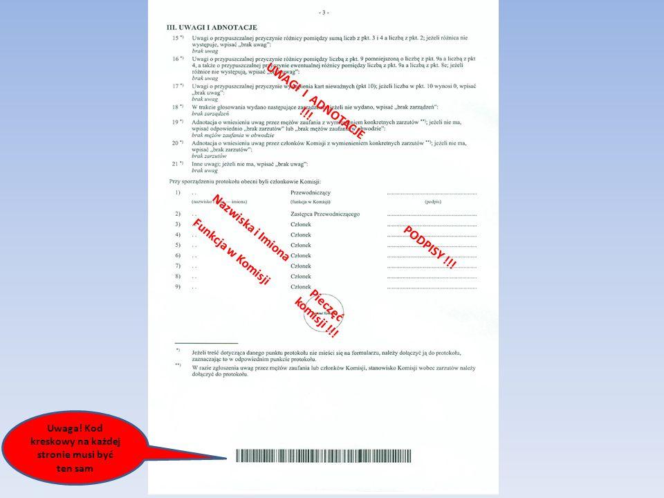 Nazwiska i Imiona Funkcja w Komisji UWAGI I ADNOTACJE !!.