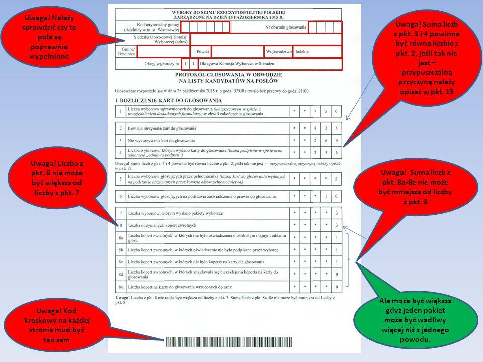 Uwaga! Należy sprawdzić czy te pola są poprawnie wypełnione Uwaga! Suma liczb z pkt. 3 i 4 powinna być równa liczbie z pkt. 2, jeśli tak nie jest – pr
