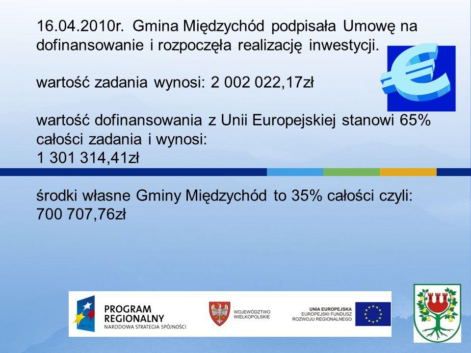 16.04.2010r. Gmina Międzychód podpisała Umowę na dofinansowanie i rozpoczęła realizację inwestycji. wartość zadania wynosi: 2 002 022,17zł wartość dof