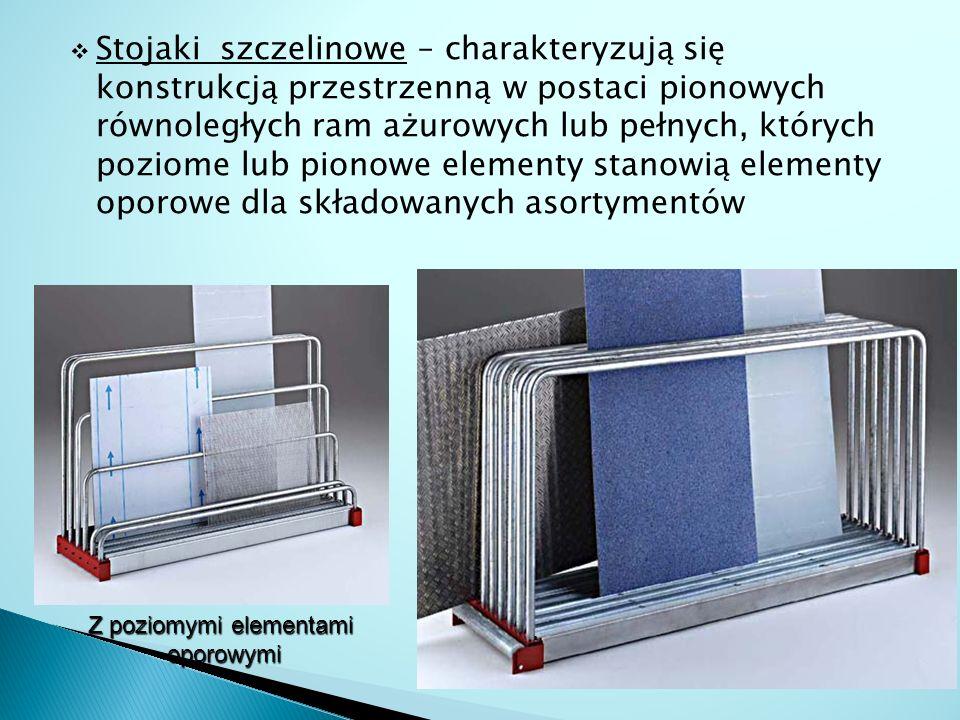  Stojaki szczelinowe – charakteryzują się konstrukcją przestrzenną w postaci pionowych równoległych ram ażurowych lub pełnych, których poziome lub pi