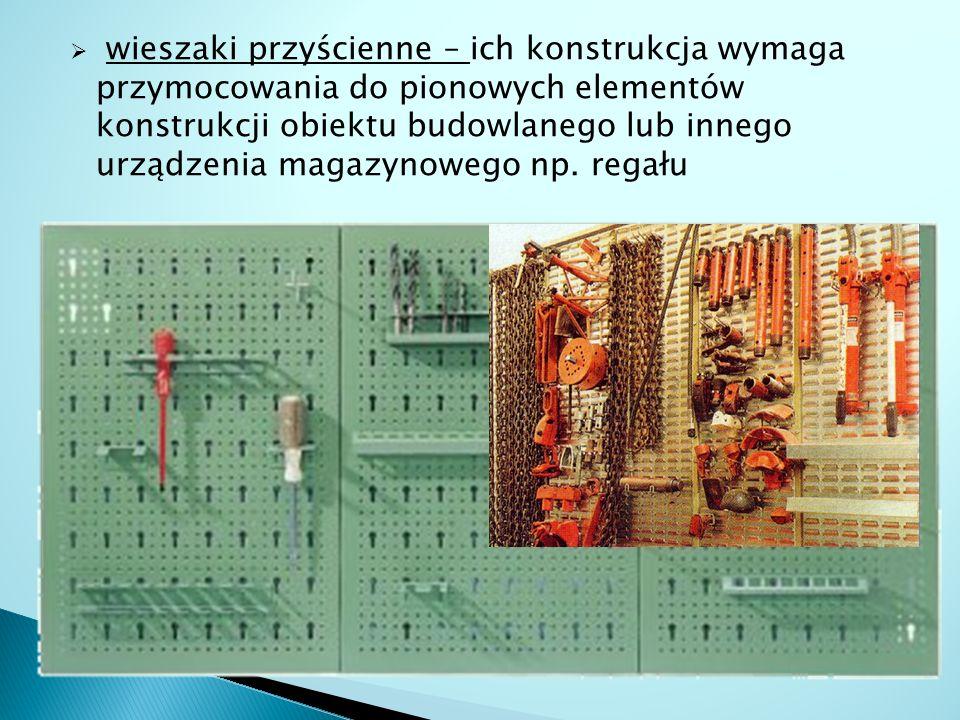 wieszaki przyścienne – ich konstrukcja wymaga przymocowania do pionowych elementów konstrukcji obiektu budowlanego lub innego urządzenia magazynoweg