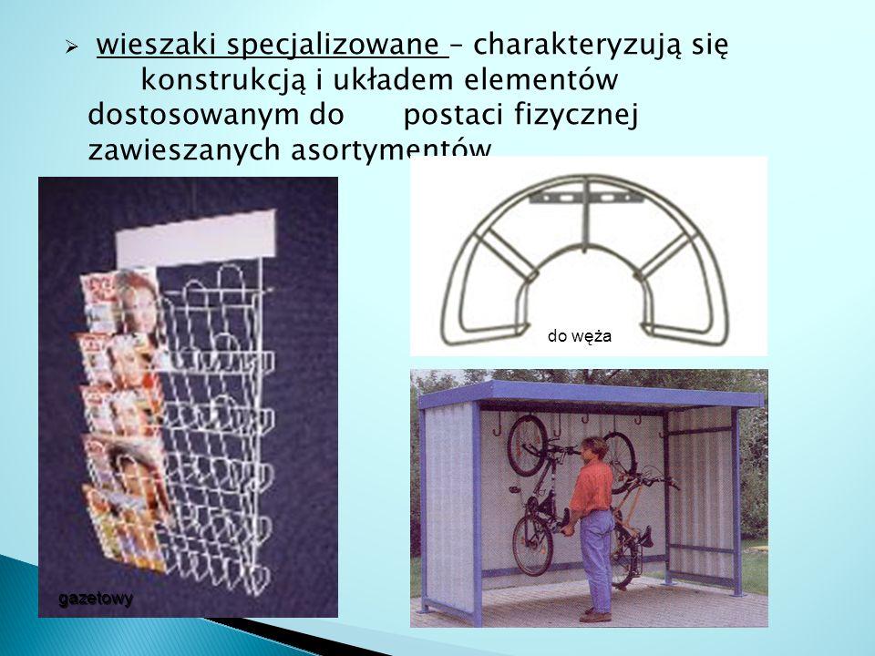  wieszaki specjalizowane – charakteryzują się konstrukcją i układem elementów dostosowanym do postaci fizycznej zawieszanych asortymentów gazetowy do
