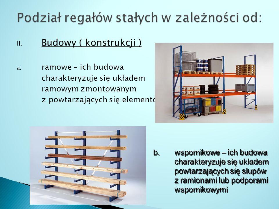 II. Budowy ( konstrukcji ) a. ramowe – ich budowa charakteryzuje się układem ramowym zmontowanym z powtarzających się elementów b. wspornikowe – ich b