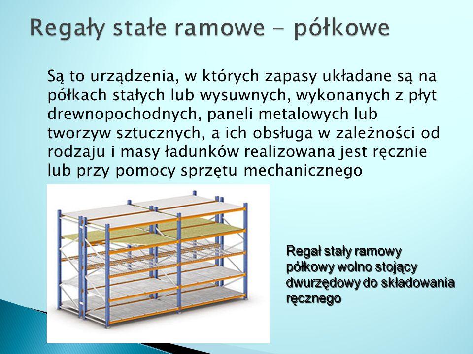 Są to urządzenia, w których zapasy układane są na półkach stałych lub wysuwnych, wykonanych z płyt drewnopochodnych, paneli metalowych lub tworzyw szt