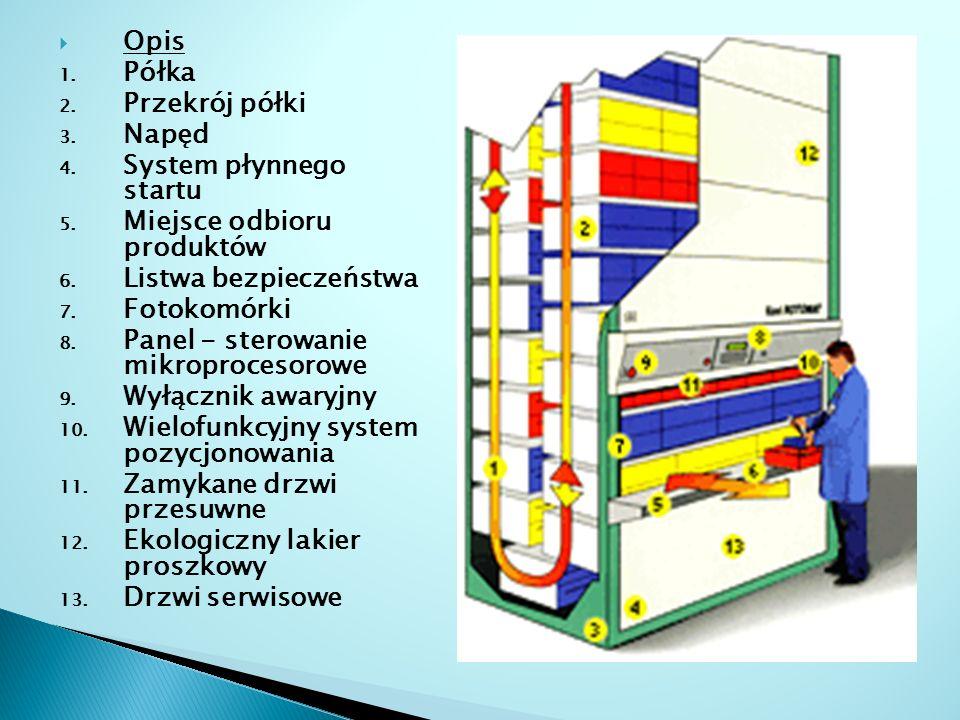  Opis 1. Półka 2. Przekrój półki 3. Napęd 4. System płynnego startu 5. Miejsce odbioru produktów 6. Listwa bezpieczeństwa 7. Fotokomórki 8. Panel - s
