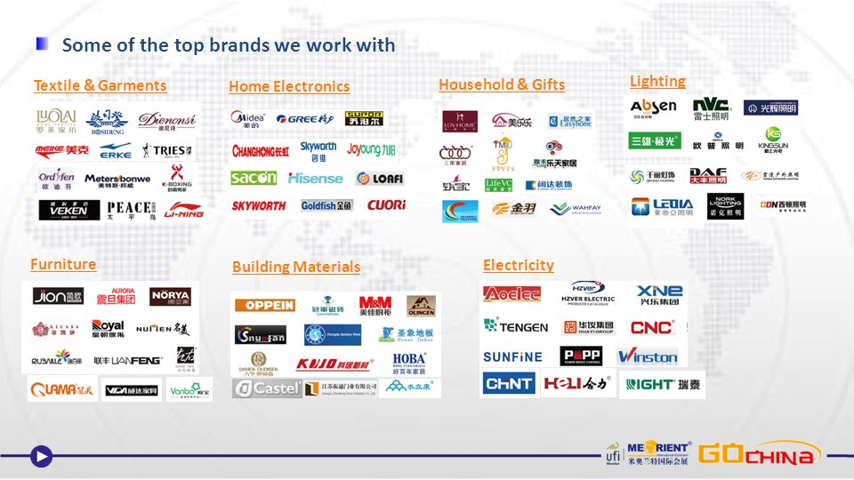Some of the top brands we work with Textile & Garments Home Electronics Household & Gifts Furniture Building Materials Lighting Electricity