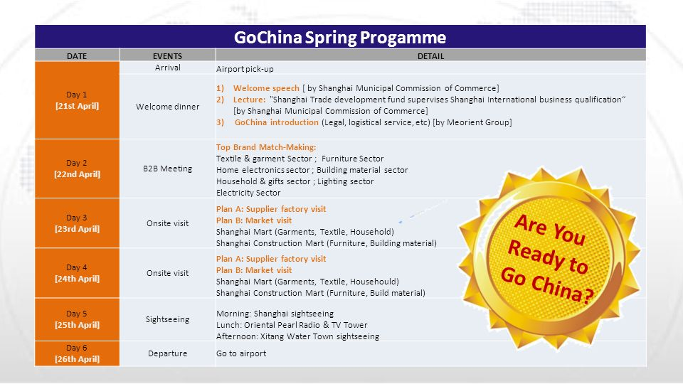GoChina Spring Progamme DATEEVENTSDETAIL Day 1 [21st April] Arrival Airport pick-up Welcome dinner 1)Welcome speech [ by Shanghai Municipal Commission of Commerce] 2)Lecture: Shanghai Trade development fund supervises Shanghai International business qualification [by Shanghai Municipal Commission of Commerce] 3) GoChina introduction (Legal, logistical service, etc) [by Meorient Group] Day 2 [22nd April] B2B Meeting Top Brand Match-Making: Textile & garment Sector ; Furniture Sector Home electronics sector ; Building material sector Household & gifts sector ; Lighting sector Electricity Sector Day 3 [23rd April] Onsite visit Plan A: Supplier factory visit Plan B: Market visit Shanghai Mart (Garments, Textile, Household) Shanghai Construction Mart (Furniture, Building material) Day 4 [24th April] Onsite visit Plan A: Supplier factory visit Plan B: Market visit Shanghai Mart (Garments, Textile, Househould) Shanghai Construction Mart (Furniture, Build material) Day 5 [25th April] Sightseeing Morning: Shanghai sightseeing Lunch: Oriental Pearl Radio & TV Tower Afternoon: Xitang Water Town sightseeing Day 6 [26th April] DepartureGo to airport Are You Ready to Go China