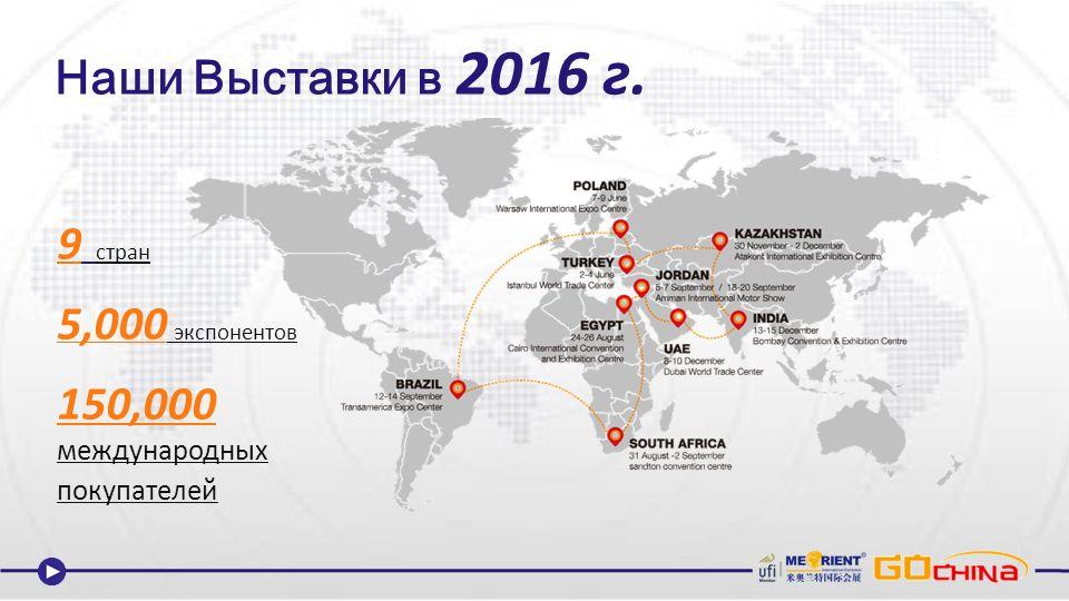 Наши Выставки в 2016 г. 9 стран 5,000 экспонентов 150,000 международных покупателей