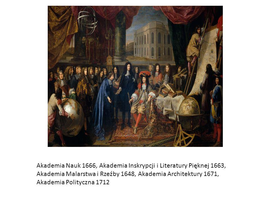 Akademia Nauk 1666, Akademia Inskrypcji i Literatury Pięknej 1663, Akademia Malarstwa i Rzeźby 1648, Akademia Architektury 1671, Akademia Polityczna 1712
