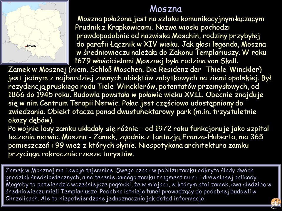 Moszna Moszna położona jest na szlaku komunikacyjnym łączącym Prudnik z Krapkowicami.
