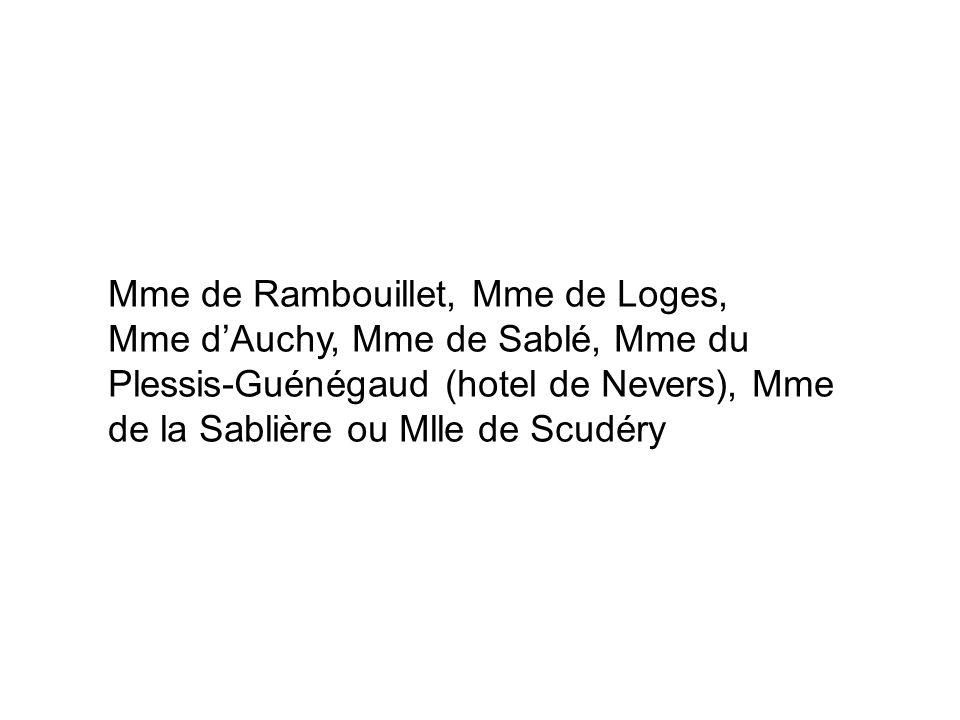 Mme de Rambouillet, Mme de Loges, Mme d'Auchy, Mme de Sablé, Mme du Plessis-Guénégaud (hotel de Nevers), Mme de la Sablière ou Mlle de Scudéry
