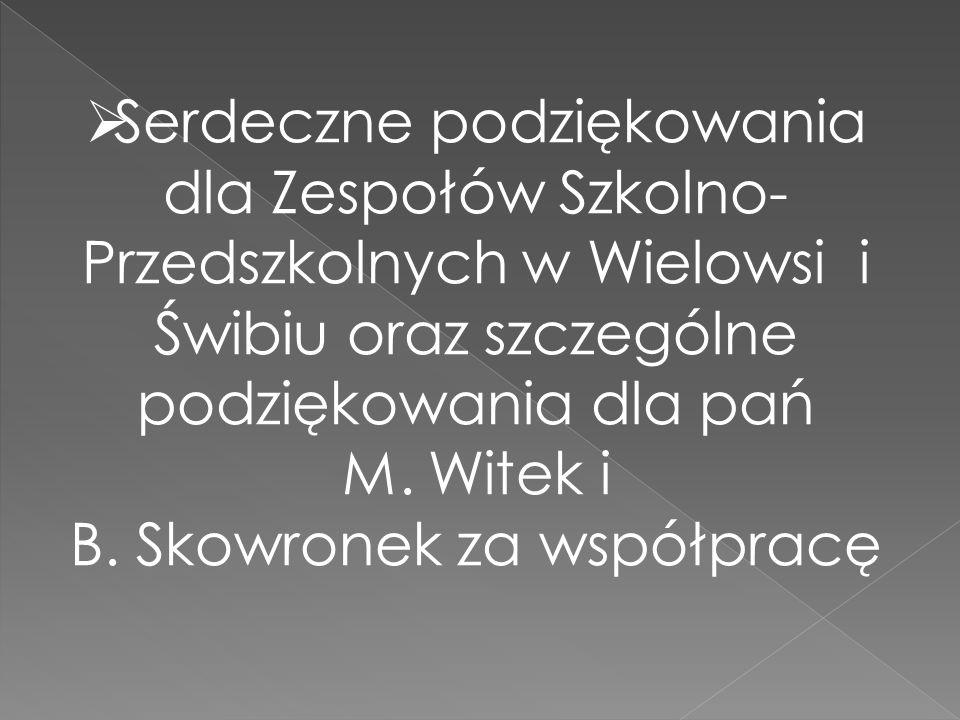  Serdeczne podziękowania dla Zespołów Szkolno- Przedszkolnych w Wielowsi i Świbiu oraz szczególne podziękowania dla pań M. Witek i B. Skowronek za ws