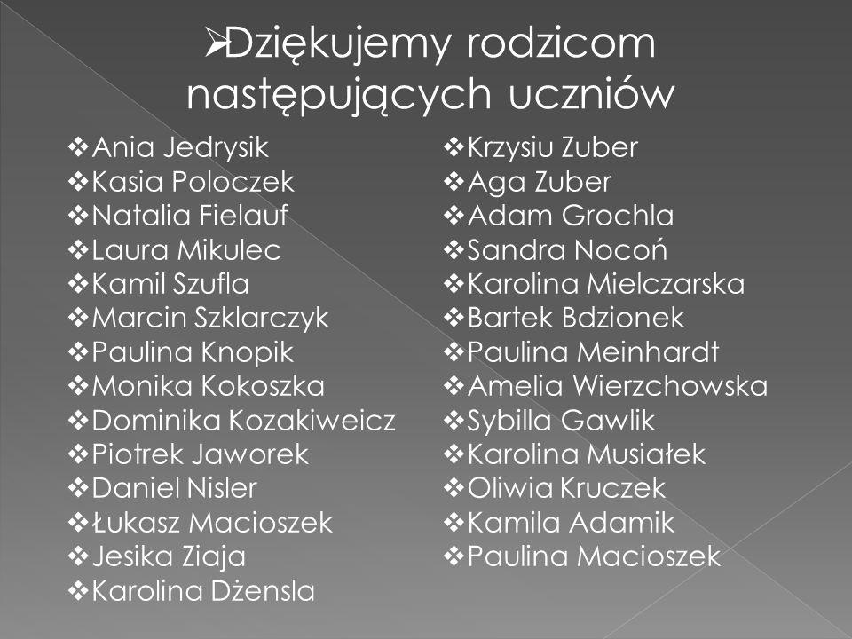  Dziękujemy rodzicom następujących uczniów  Ania Jedrysik  Kasia Poloczek  Natalia Fielauf  Laura Mikulec  Kamil Szufla  Marcin Szklarczyk  Pa