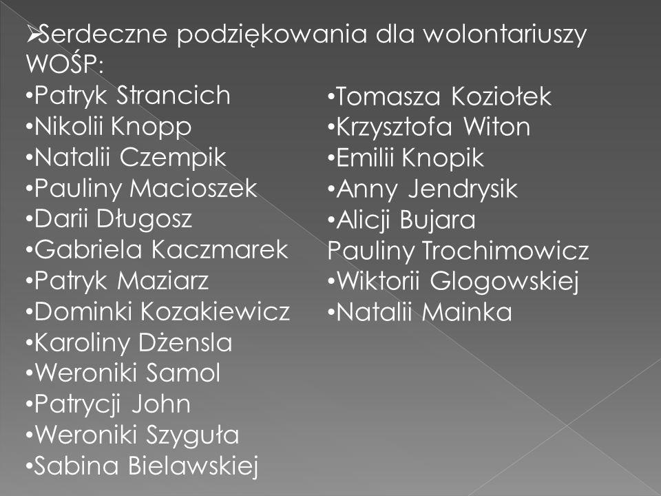  Serdeczne podziękowania dla wolontariuszy WOŚP : Patryk Strancich Nikolii Knopp Natalii Czempik Pauliny Macioszek Darii Długosz Gabriela Kaczmarek P