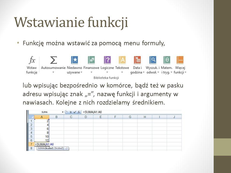 """Wstawianie funkcji Funkcję można wstawić za pomocą menu formuły, lub wpisując bezpośrednio w komórce, bądź też w pasku adresu wpisując znak """"= , nazwę funkcji i argumenty w nawiasach."""