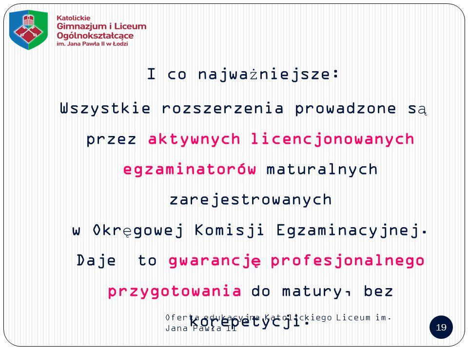 Oferta edukacyjna Katolickiego Liceum im.