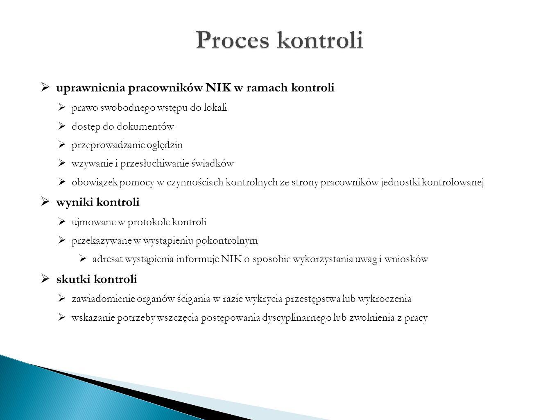 uprawnienia pracowników NIK w ramach kontroli  prawo swobodnego wstępu do lokali  dostęp do dokumentów  przeprowadzanie oględzin  wzywanie i przesłuchiwanie świadków  obowiązek pomocy w czynnościach kontrolnych ze strony pracowników jednostki kontrolowanej  wyniki kontroli  ujmowane w protokole kontroli  przekazywane w wystąpieniu pokontrolnym  adresat wystąpienia informuje NIK o sposobie wykorzystania uwag i wniosków  skutki kontroli  zawiadomienie organów ścigania w razie wykrycia przestępstwa lub wykroczenia  wskazanie potrzeby wszczęcia postępowania dyscyplinarnego lub zwolnienia z pracy