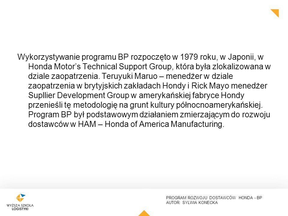 PROGRAM ROZWOJU DOSTAWCÓW HONDA - BP AUTOR: SYLWIA KONECKA Wykorzystywanie programu BP rozpoczęto w 1979 roku, w Japonii, w Honda Motor's Technical Support Group, która była zlokalizowana w dziale zaopatrzenia.