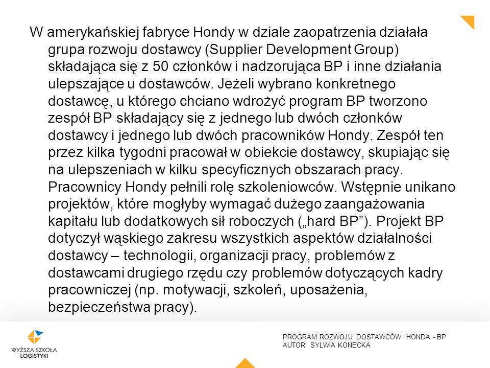 PROGRAM ROZWOJU DOSTAWCÓW HONDA - BP AUTOR: SYLWIA KONECKA W amerykańskiej fabryce Hondy w dziale zaopatrzenia działała grupa rozwoju dostawcy (Supplier Development Group) składająca się z 50 członków i nadzorująca BP i inne działania ulepszające u dostawców.