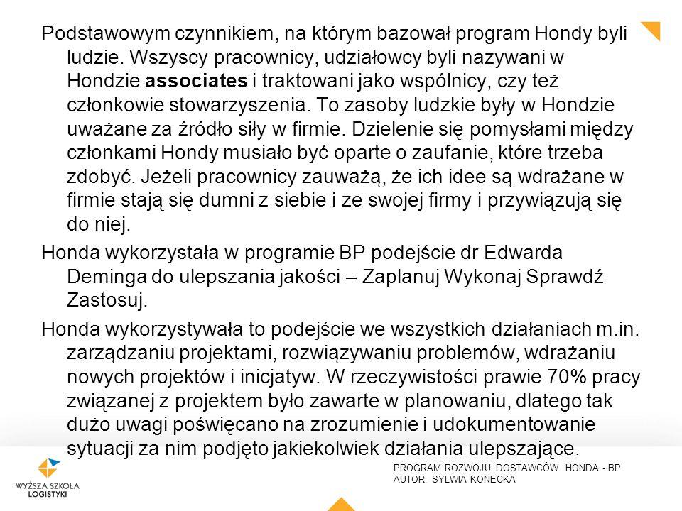 PROGRAM ROZWOJU DOSTAWCÓW HONDA - BP AUTOR: SYLWIA KONECKA Podstawowym czynnikiem, na którym bazował program Hondy byli ludzie.