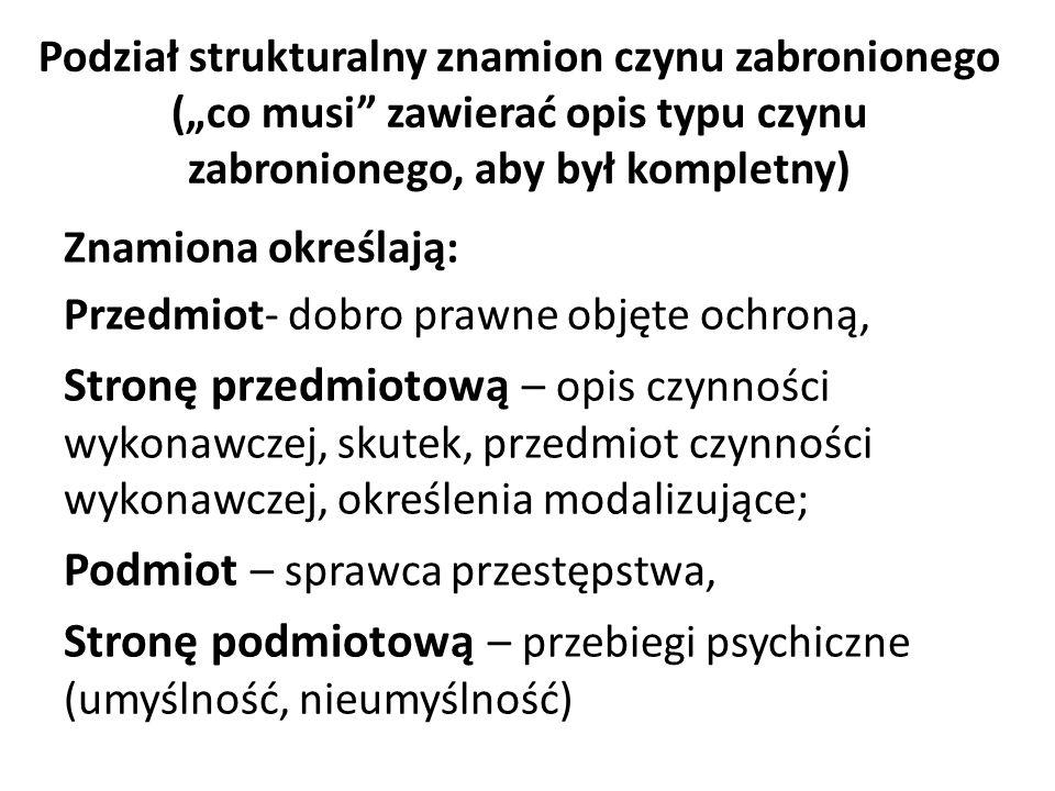 """Podział strukturalny znamion czynu zabronionego (""""co musi zawierać opis typu czynu zabronionego, aby był kompletny) Znamiona określają: Przedmiot- dobro prawne objęte ochroną, Stronę przedmiotową – opis czynności wykonawczej, skutek, przedmiot czynności wykonawczej, określenia modalizujące; Podmiot – sprawca przestępstwa, Stronę podmiotową – przebiegi psychiczne (umyślność, nieumyślność)"""