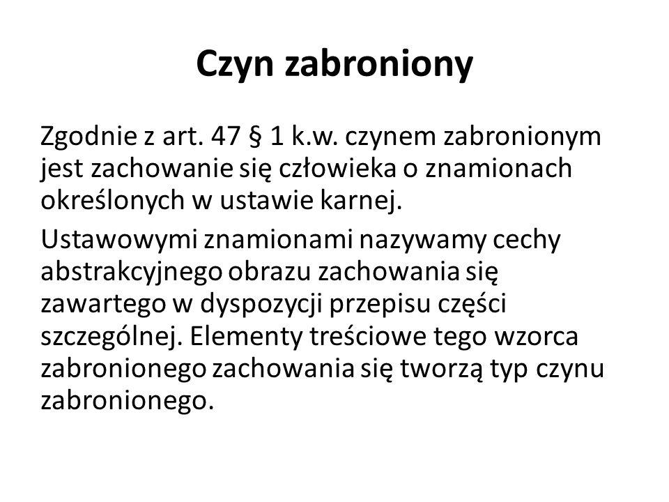 Czyn zabroniony Zgodnie z art.47 § 1 k.w.