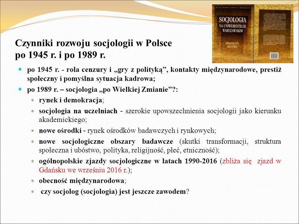 """Czynniki rozwoju socjologii w Polsce po 1945 r. i po 1989 r. po 1945 r. - rola cenzury i """"gry z polityką"""", kontakty międzynarodowe, prestiż społeczny"""