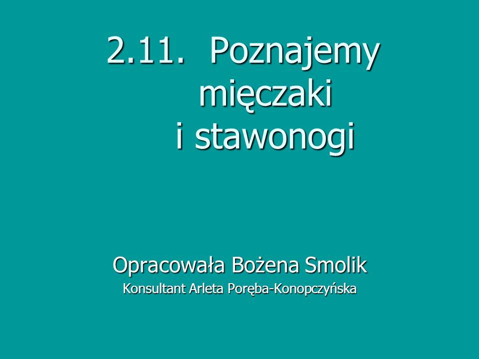 2.11. Poznajemy mięczaki i stawonogi Opracowała Bożena Smolik Konsultant Arleta Poręba-Konopczyńska