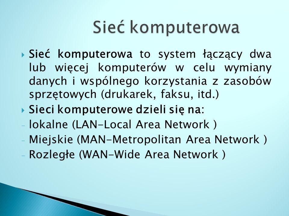  Sieć komputerowa to system łączący dwa lub więcej komputerów w celu wymiany danych i wspólnego korzystania z zasobów sprzętowych (drukarek, faksu, i