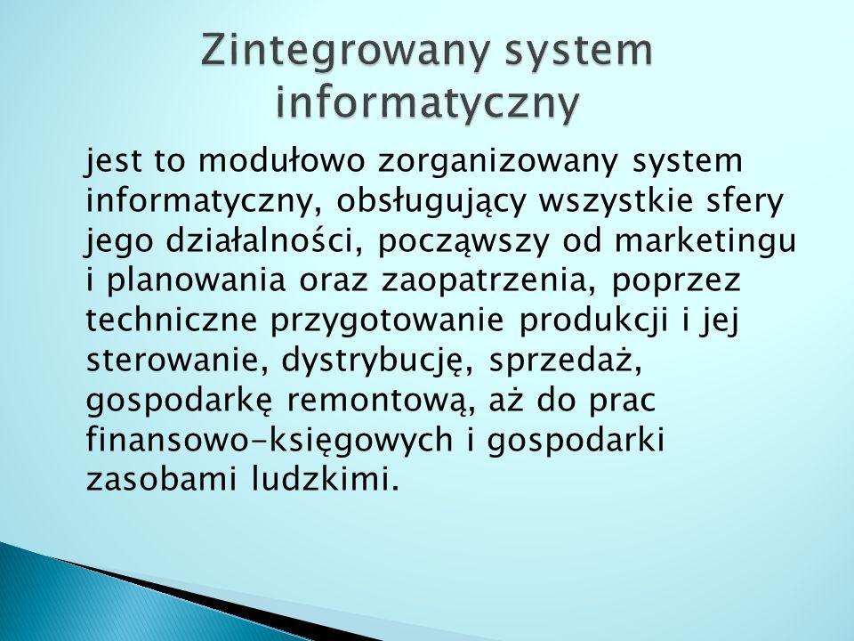 jest to modułowo zorganizowany system informatyczny, obsługujący wszystkie sfery jego działalności, począwszy od marketingu i planowania oraz zaopatrz