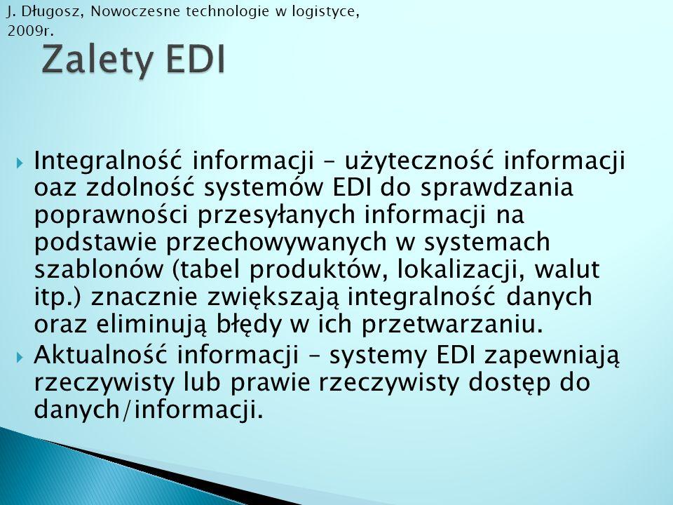  Integralność informacji – użyteczność informacji oaz zdolność systemów EDI do sprawdzania poprawności przesyłanych informacji na podstawie przechowy