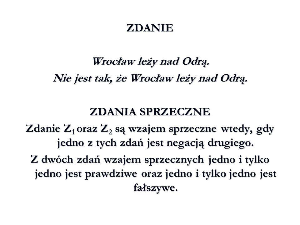 ZDANIE Wrocław leży nad Wisłą.Wrocław leży nad Narwią.