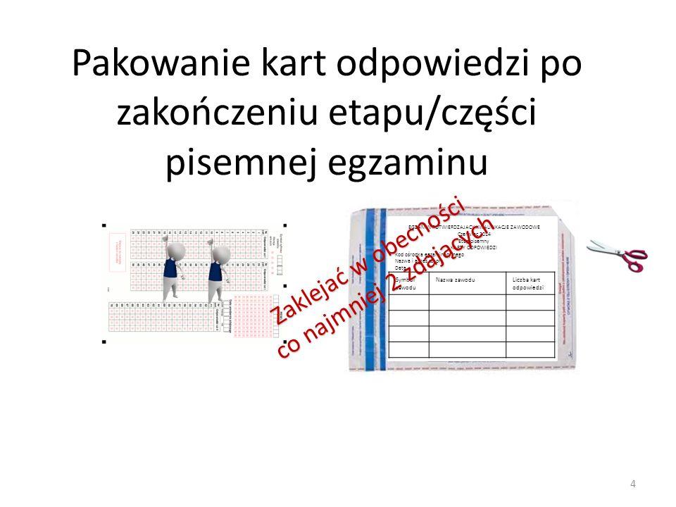 Pakowanie kart odpowiedzi po zakończeniu etapu/części pisemnej egzaminu EGZAMIN POTWIERDZAJACY KWALIFIKACJE ZAWODOWE Czerwiec 2014 Etap pisemny KARTY ODPOWIEDZI Kod ośrodka egzaminacyjnego Nazwa i adres szkoły Data Symbol zawodu Nazwa zawoduLiczba kart odpowiedzi Zaklejać w obecności co najmniej 2 zdających 4