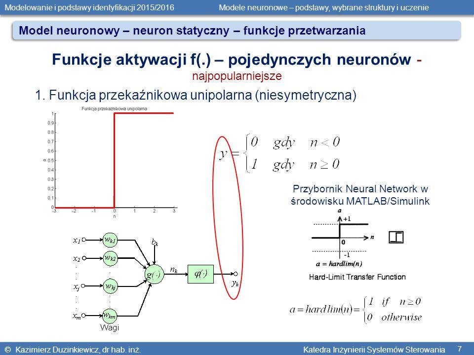 © Kazimierz Duzinkiewicz, dr hab. inż. Katedra Inżynierii Systemów Sterowania Modelowanie i podstawy identyfikacji 2015/2016 Modele neuronowe – podsta