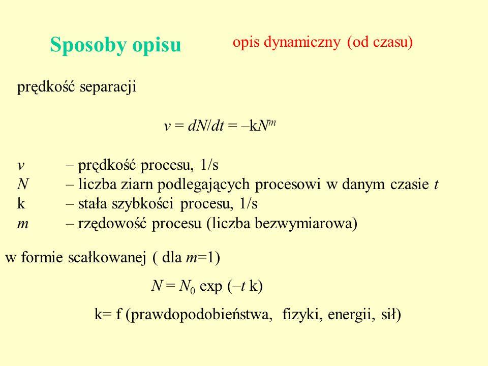 Sposoby opisu opis dynamiczny (od czasu) prędkość separacji v = dN/dt = –kN m v – prędkość procesu, 1/s N – liczba ziarn podlegających procesowi w dan