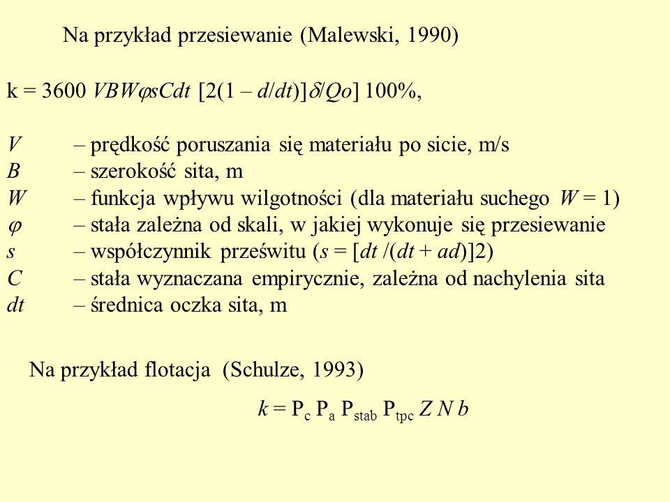 k = 3600 VBW  sCdt [2(1 – d/dt)]  /Qo] 100%, V – prędkość poruszania się materiału po sicie, m/s B – szerokość sita, m W – funkcja wpływu wilgotności (dla materiału suchego W = 1)  – stała zależna od skali, w jakiej wykonuje się przesiewanie s – współczynnik prześwitu (s = [dt /(dt + ad)]2) C – stała wyznaczana empirycznie, zależna od nachylenia sita dt – średnica oczka sita, m Na przykład przesiewanie (Malewski, 1990) Na przykład flotacja (Schulze, 1993) k = P c P a P stab P tpc Z N b