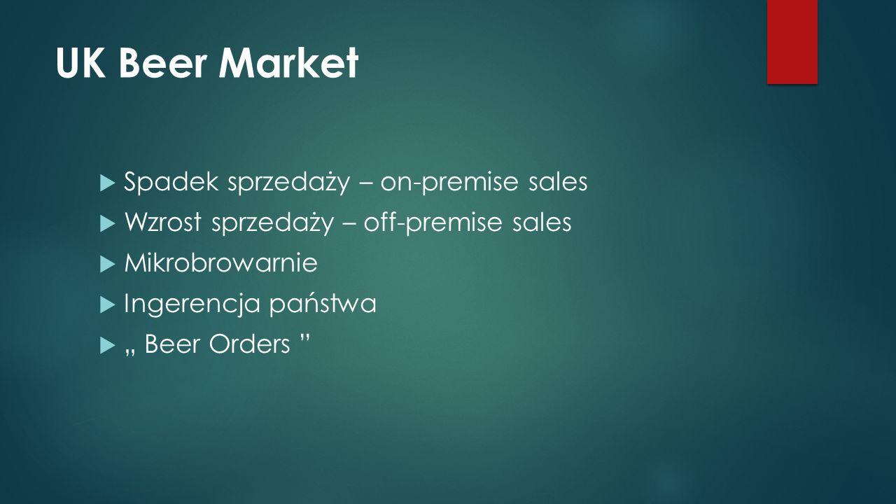 """UK Beer Market  Spadek sprzedaży – on-premise sales  Wzrost sprzedaży – off-premise sales  Mikrobrowarnie  Ingerencja państwa  """" Beer Orders"""