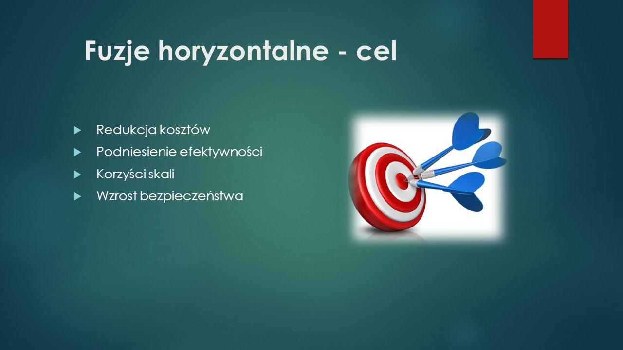 Fuzje horyzontalne - cel  Redukcja kosztów  Podniesienie efektywności  Korzyści skali  Wzrost bezpieczeństwa