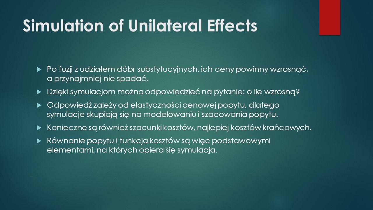 Simulation of Unilateral Effects  Po fuzji z udziałem dóbr substytucyjnych, ich ceny powinny wzrosnąć, a przynajmniej nie spadać.