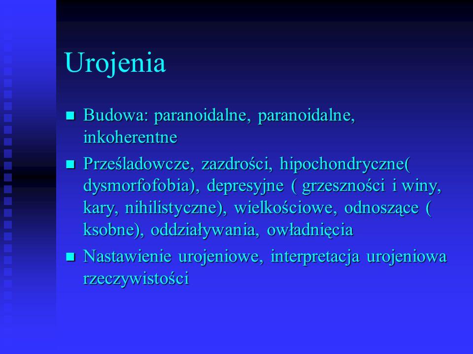 Urojenia Budowa: paranoidalne, paranoidalne, inkoherentne Budowa: paranoidalne, paranoidalne, inkoherentne Prześladowcze, zazdrości, hipochondryczne(