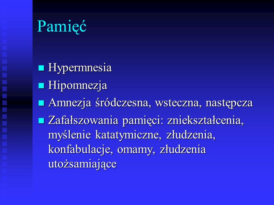 Pamięć Hypermnesia Hypermnesia Hipomnezja Hipomnezja Amnezja śródczesna, wsteczna, następcza Amnezja śródczesna, wsteczna, następcza Zafałszowania pam